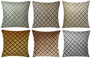 Chenille Velvet Criss Cross Design Check 17 x 17 Cushion Covers for Sofa Bed
