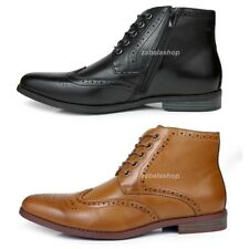 Fashion Mens Oxfords Wingtip Ankle Boots Dress Casual Shoes Black/Tan Brown