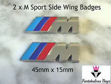 2 x ///M Sport Small Emblem M Power Badge Metal Chrome BMW Side Wing Silver UK