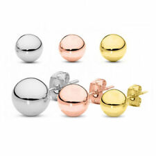 925 Sterling Silver High Polish Smooth Round Ball Stud Earrings 3 Studs Set 5mm