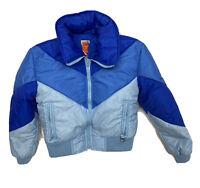 Vintage 80s SKYR Puffer Women's Winter Ski Jacket Zip Front Ladies Large L Blue