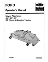 NEW HOLLAND Ford 44 48 60 Inch Mower Attachment GT Tractor OPERATORS MANUAL