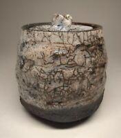 Raku Pottery / Studio Art Small Lidded Pot, White & Copper Glaze, Artist Signed