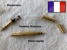 Lot de 5 Fiches Jack 6,35mm stéréo doré male à Souder tout métal  NEUF