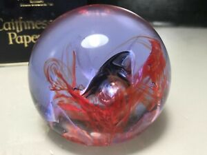 ETCH-MARKED CAITHNESS BOXED RED & LILAC 'MOON CRYSTAL' ART GLASS PAPERWEIGHT