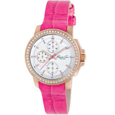 $165 BRAND NEW KENNETH COLE WOMENS KC2807 PINK LEATHER STRAP CHRONOGRAPH WATCH