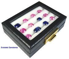 TOP GLASS JEWELRY GEMSTONE GEM DISPLAY BOX ORGANIZER SHOW CASE 7.5x10 CM 3 ROWS