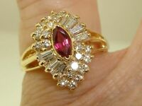 3Ct Beautiful 14Kt Solid Gold Over Red Ruby Surrounded Diamonds Ring