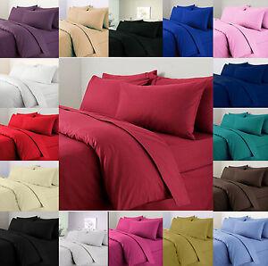 Plain Dyed Duvet Cover & Pillowcase Bedding Set Single Double King Super King