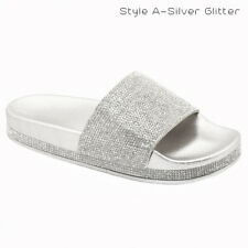 New Women&Kids Glitter Slid Slip On Flip Flops Comfort Flat Lightweight Sandals