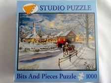 New  Bits And Pieces Jigsaw Puzzle Winter Sleigh Jess Hager 1000 pcs