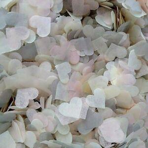 3500 Wedding Confetti Biodegradable GREY BLUSH IVORY Paper Hearts FILL 4 CONES