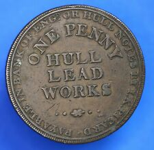 More details for british coin - 1812 hull lead works, penny token 1d coin  [20363]