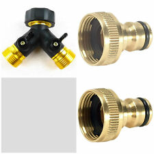 2 WAY DOUBLE GARDEN TAP HOSE ADAPTER TWIN SPLITTER BRASS CONNECTOR  + 2 ADAPTORS