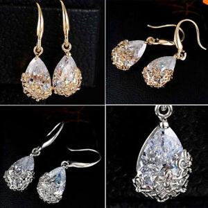 Women New Beautiful Alloy 24K Gold Plated Crystal Drop Hook Earrings