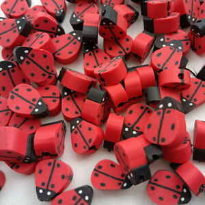 30pcs 10mm Polymer Clay Red seven-spot ladybug Seed Beads For DIY Jewelry Making