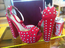 "6"" tall Red Very High Spike Spiked Killer Heels Size UK 6 Womens Sexy Shoes"