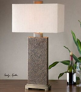 """CANFIELD MODERN XL 32"""" PITTED FINISH TABLE LAMP COFFEE BRONZE METAL UTTERMOST"""