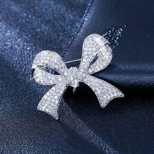 New listing Silver Fashion Style Woman Bow Brooch Pin Clear Rhinestone Jewelry