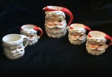 Vintage Red and White Ceramic INARCO Santa Pitcher and Santa Mugs Made In Japan