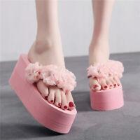 New Girls Flower Platform Wedge High Heel Flip Flop Slippers Sandals Beach Shoes