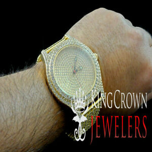 Mens Full Illusion Cz Bling Master Yellow Gold Finish Custom Band Joe King Rode