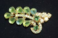 DeLizza & Elster JULIANA Frosted Green Yellow Rhinestone Brooch/ Pin