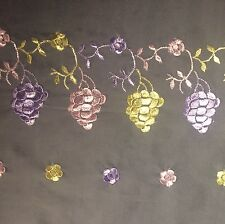 "Vintage Lace 8+ Yards X 14"" Wide Pink Yellow Lavender Floral & Grape Vein Motif"