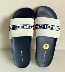 NEW! TOMMY HILFIGER DEDRA WHITE NAVY BLUE SLIP-ON SLIDES FLIP-FLOP SLIPPERS 9 39
