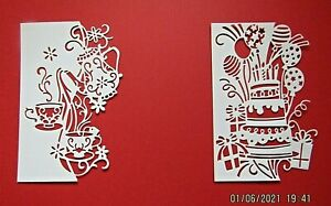 New: 8 x Crafters Companion Edger Die Cut Toppers Birthday Party & Afternoon Tea