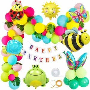 Insect Butterfly Bee Frog Snails Sun Animal Foil Balloon Happy Birthday Banner