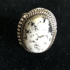 Size 7.5 White Buffalo Turquoise & Sterling Silver Navajo Signed Ring GBoyd