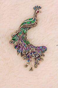 Handmade Sterling Silver Enamelled Ruby Marcasite Brooch Peacock Pendant BR10