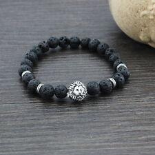 Men Women Natural Gemstone Beads Lava Rock Stone Bracelet Lion/Buddha Head Bead