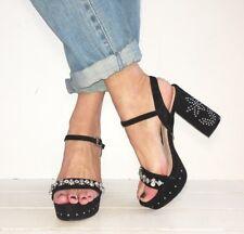 TOPSHOP Black Suede Studded Embellished Strappy Block Heels Size 5 / 38