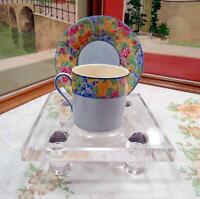 """VINTAGE BLUE AND CHINTZ BAND 2 1/8"""" DEMITASSE CUP AND SAUCER SET"""
