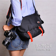 Water-Resistant Messenger Bag padded Shoulder Bags Universal Camera Lenses black
