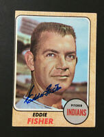 Eddie Fisher Indians signed 1968 Topps baseball card #418 Auto Autograph