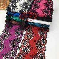 1YD, Flower Stretch Lace Trim Ribbon Elastic fabric Clothing Sewing Crafts FL276