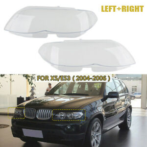 Headlight Shell Headlight Lens Plastic Cover For BMW X5 E53 Right+Left 2004-2006