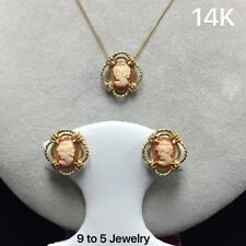 14K YELLOW GOLD NECKLACE WITH CAMEO PENDANT AND EARRING SETS * FREE SHIPPING *