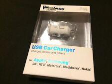 H21 Just Wireless 10 Watt/2.1 Amp Usb Car Charger Apple Samsung Lg Motorola,