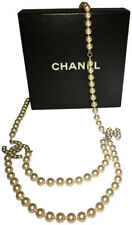 CHANEL Heart Crystal Pearl CC Belt/Necklace in Silver 04V