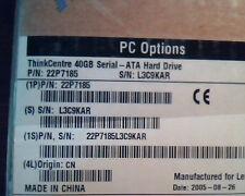 Hard Drive SATA IBM 40GB 22P7185 CN ThinkCentre 22P7185L3C9KAR STILL SEALED BOX