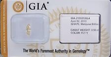 GIA Cert 0.50ct MARQUISE cut diamond NATURAL FANCY LIGHT YELLOW  SEALED.