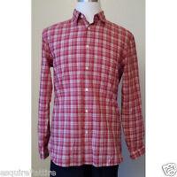 "John Varvatos men casual cotton shirt size S red plaid pattern NWT slim fit 20"""