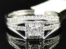Ladies 10K White Gold Solitaire Princess Cut Diamond Engagement Wedding Ring Set
