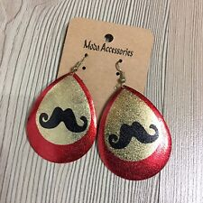 Charm Lady Fashion Jewellery Cooper Moustache Dangle Party + Christmas Earrings
