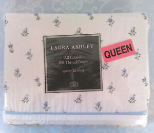 """New LAURA ASHLEY """"Emilie"""" Queen Flat Sheet 100% Cotton floral Sealed Package"""