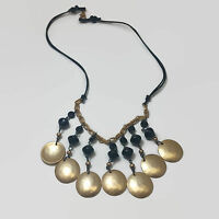 Matte Gold Tone Dangle Black Corded Necklace